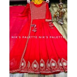 Heavy Rayon Slub Anarkali gown